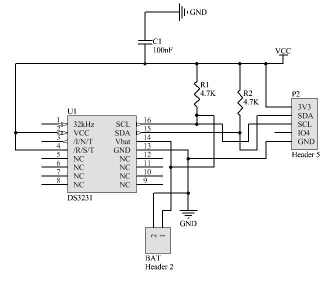 DS3231 RTC Схема